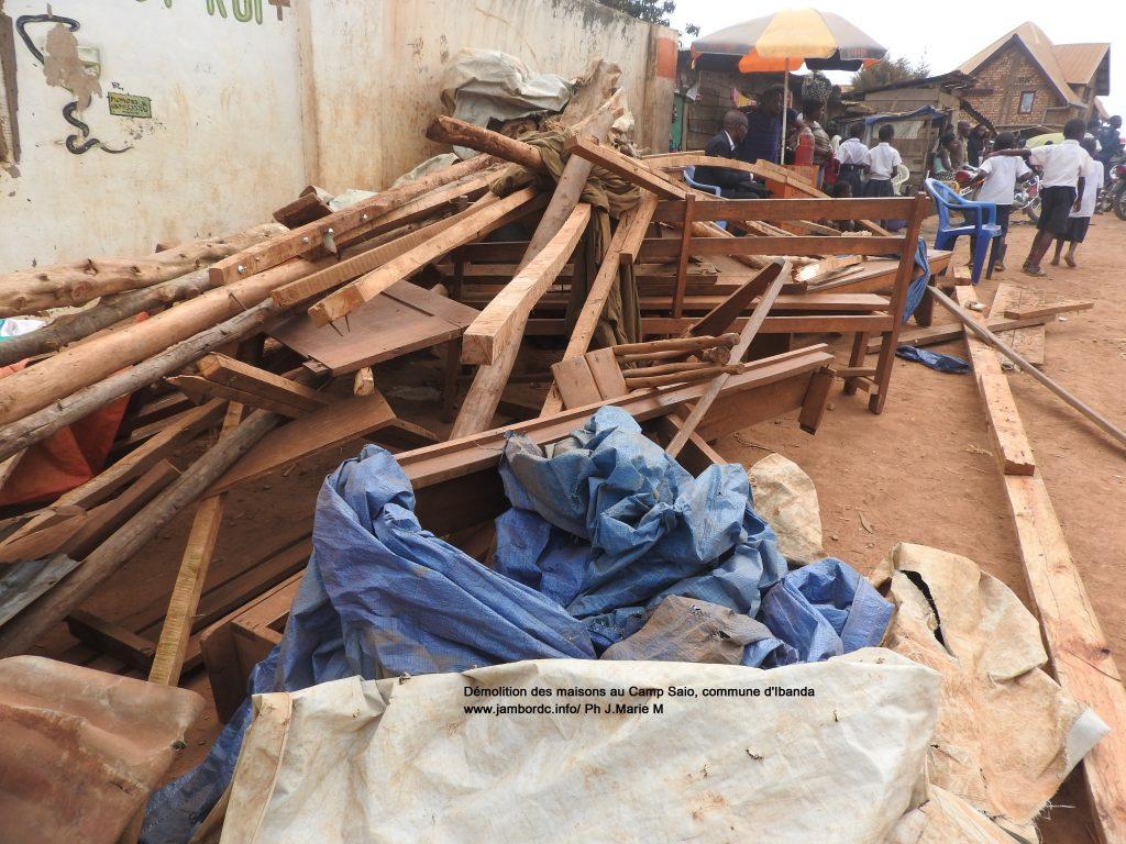 Bukavu : Démolition d'une vingtaine de maisons construites à l'entrée du Camp saio ce vendredi 9 juin