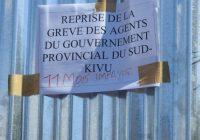 Sud-Kivu : Reprise de la grève au gouvernorat de province et à la DPMER