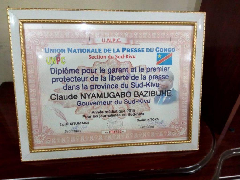 Sud-Kivu : « Le diplôme décerné au Gouverneur  de province était à titre interpellateur », précise Egide Kitumaini (UNPC)