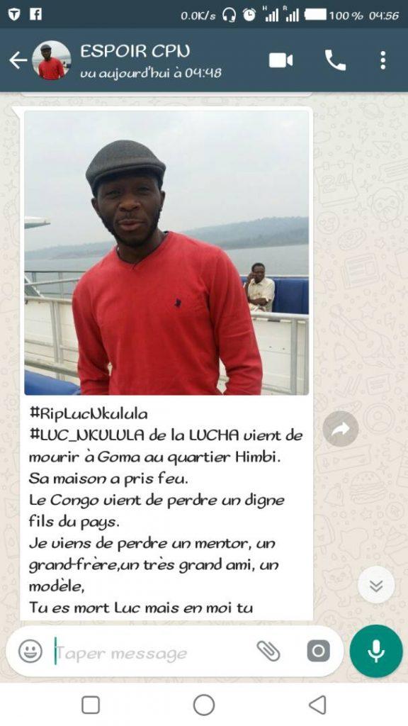 Goma: Un membre de la Lucha trouve la mort dans l'incendie de sa maison