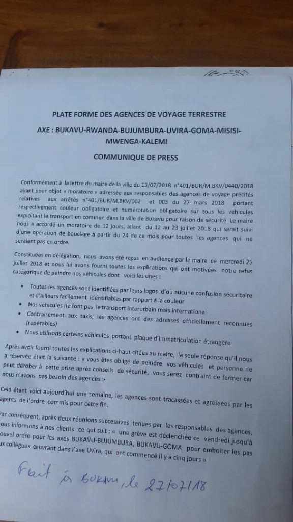 Bukavu: Les agences de voyage terrestre entrent en grève illimitée