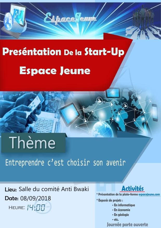 """Créée par des jeunes de Bukavu, la start-up """"Espace Jeunes"""" sera présenté ce samedi 8 septembre  2018"""