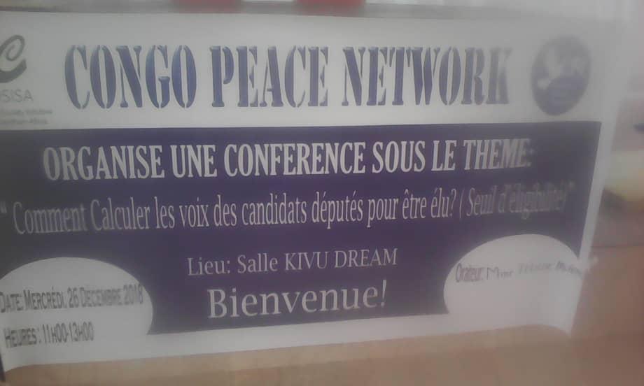 Goma : L'organisation Congo peace network tient une conférence sur le calcul du seuil d'éligibilité aux élections du 30 décembre.