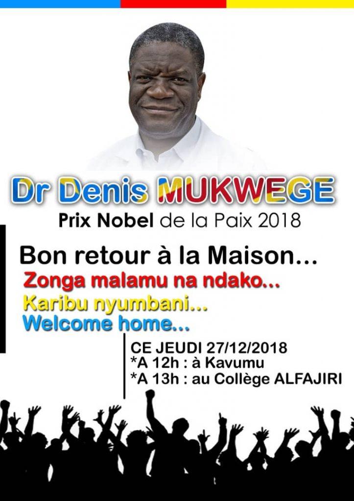 Prix Nobel de la paix : le Docteur Denis Mukwege rentre à Bukavu ce jeudi 27 décembre 2018
