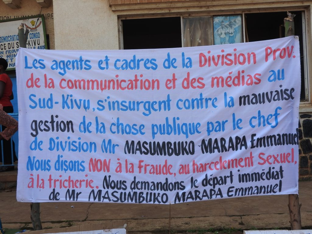 Sud-Kivu : Les agents de la division de communication et médias en guerre pour le départ de leur chef