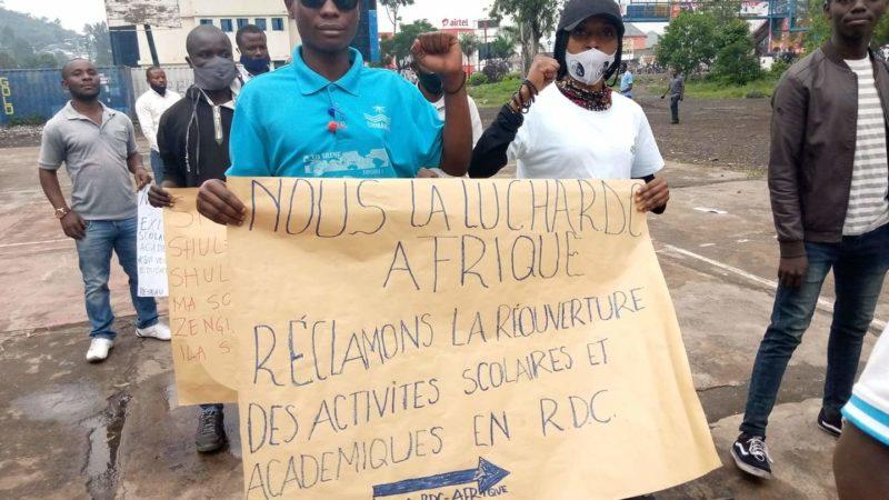 Goma: Des étudiants, enseignants, acteurs sociaux dans la rue pour exiger la reprise des cours sans délai