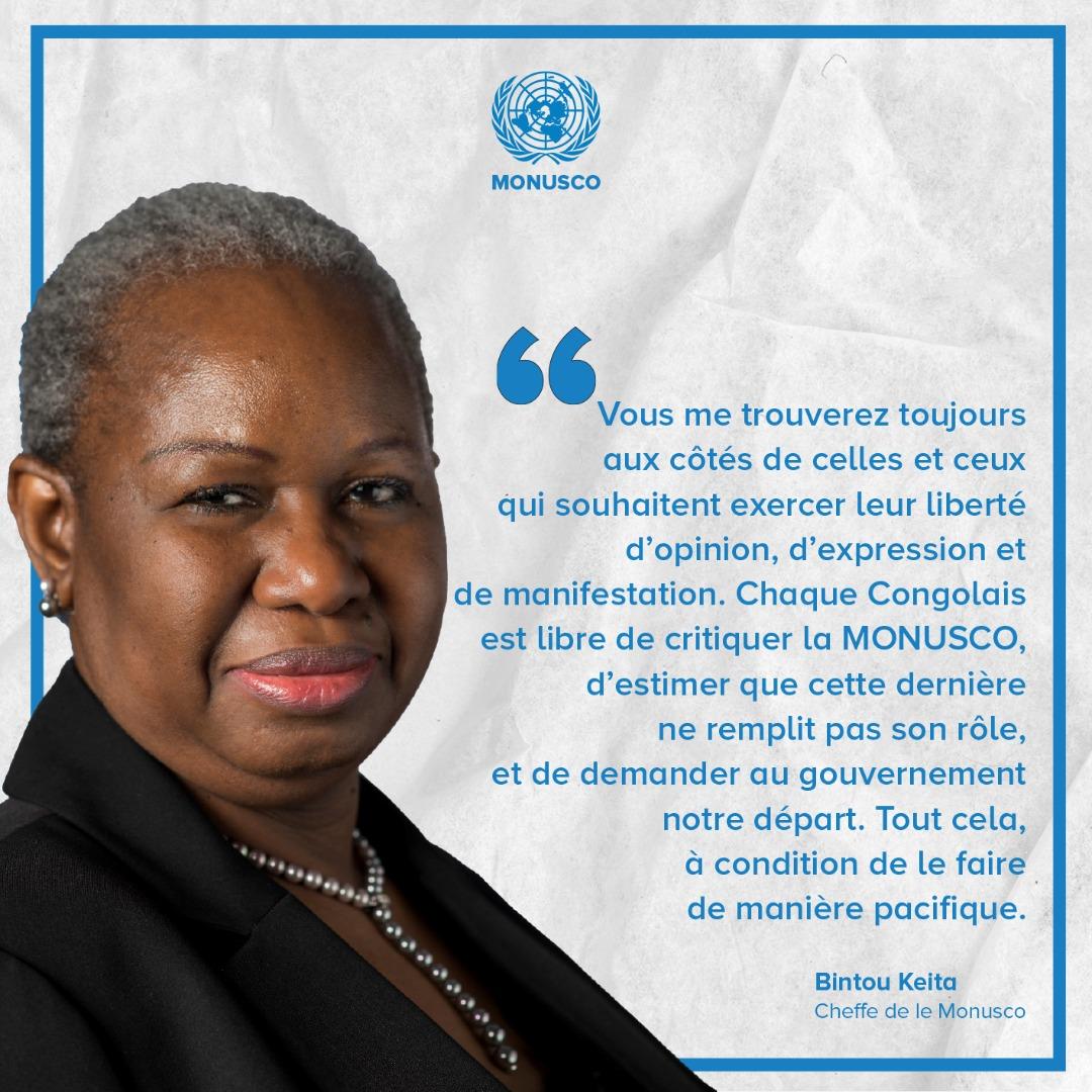 Nord-Kivu: les manifestations violentes ne feront pas partir la Monusco de la RDC. Il faut suivre les procédures légales (Bintou Keita).