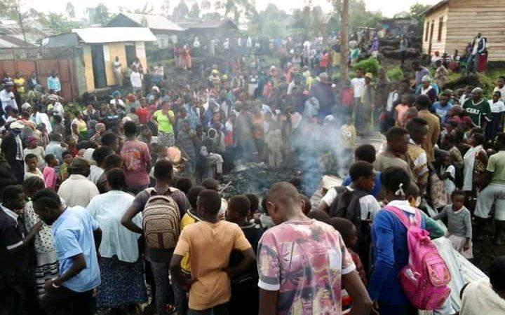 Nyiragongo :5 personnes mortes  dans un incendie  d'origine inconnue  dans le village kiziba 1
